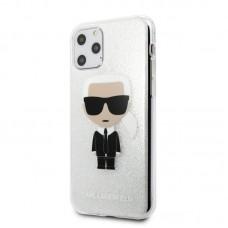 Apple iPhone 11 Karl Lagerfeld Szilikon Csillogós Hátlap-  Ezüst