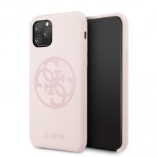Apple iPhone 11 Pro GUESS Silicon Soft Hátlap - Púder Rózsaszín