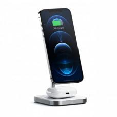 Satechi Aluminium 2in1 Magnetic Wireless asztali Töltőállvány - Fehér